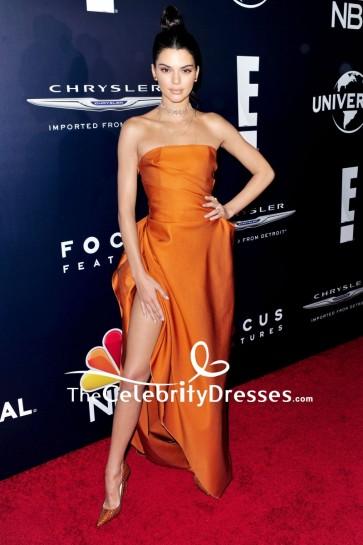 Kendall Jenner Orange Strapless Evening Formal Dress 2017 Golden Globes Afterparty