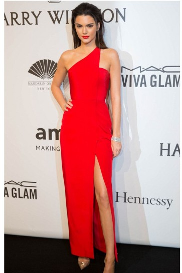 Kendall Jenner 2015 amfAR New York Gala Hot Red One Shoulder Dress