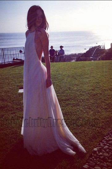 Kendall Jenner White Chiffon Backless Prom Evening Dresses