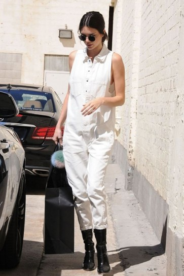 Kendall Jenner White Sleeveless Jumpsuit with Pockets