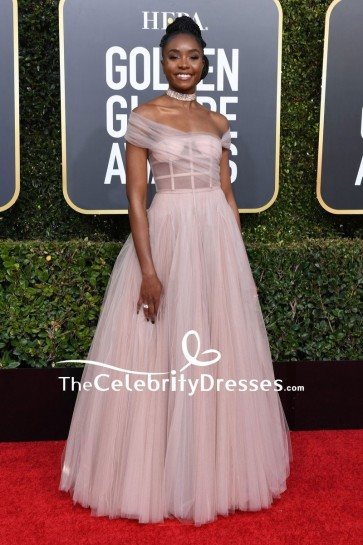 Kiki Layne Off-the-shoulder Corset Ball Gown Golden Globes 2019 Red Carpet