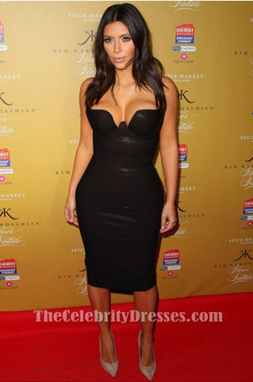 Kim Kardashian Sexy Club Dress Black PU Cocktail Party Dresses TCDTB6199