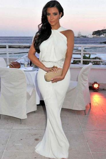 Kim Kardashian White Prom Dress Amber Lounge Fashion Show White Dress Celebrity Style