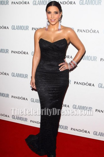 Kim Kardashian Black Strapless Lace Dress 2011 Glamour-Women-of-the-Year-Awards Red Carpet Gown