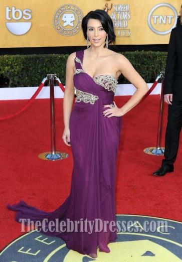 Kim Kardashian Purple One Shoulder Dress 17th Annual Screen Actors Guild Awards Red Carpet