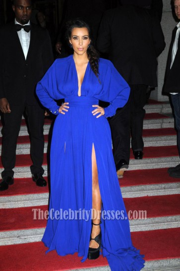 Kim Kardashian Blue Long Sleeve Evening Dress Angel Ball 2012