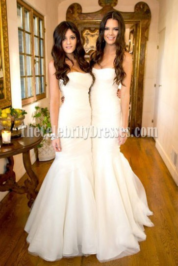 Celebrity Kim Kardashian Wedding White Mermaid Bridesmaid Dresses