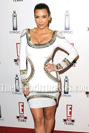 kim kardashian White Bandage Short Cocktail Dress Red Carpet Dresses
