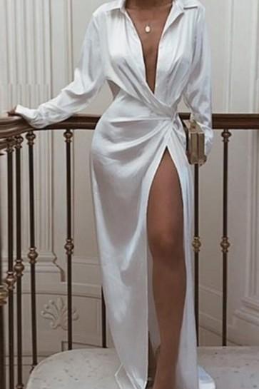 Knotted Long Shirt Dress