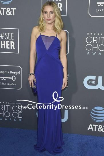 Kristen Bell Royal Blue Evening Dress With Spaghetti Straps 2019 Critics' Choice Awards