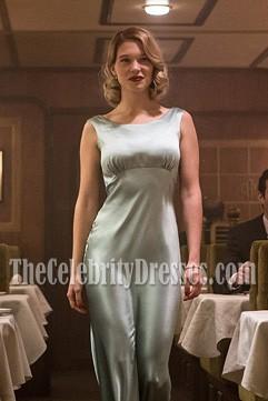 LÉA SEYDOUX Slinky Sea Foam Green Sheath Long Evening Gown Movie Spectre 007