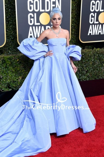 Lady Gaga Lavender Off-the-shoulder Ball Gown 2019 Golden Globes Red Carpet Dress
