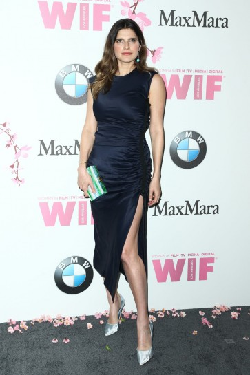 Lake Bell Dark Navy High Slit Sheath Midi Dress 2017 Crystal And Lucy Awards