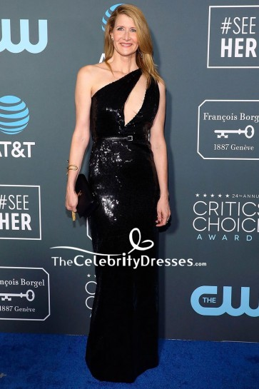 Laura Dern Black Cut Out Sequined Sheath Dress Critics' Choice Awards 2019
