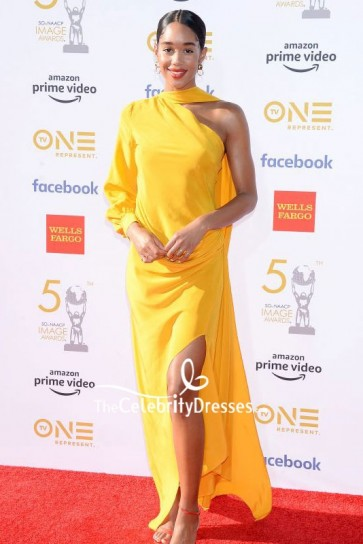 Laura Harrier Yellow One Sleeve Evening Dress 2019 NAACP Image Awards