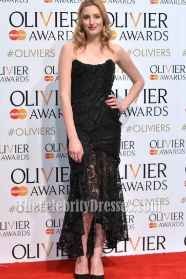 Laura Carmichael Black Strapless Evening Party Dress 2015 Olivier Awards 5