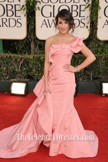 Lea Michele Pink Prom Dress 2011 Golden Globe Awards Red Carpet Gown