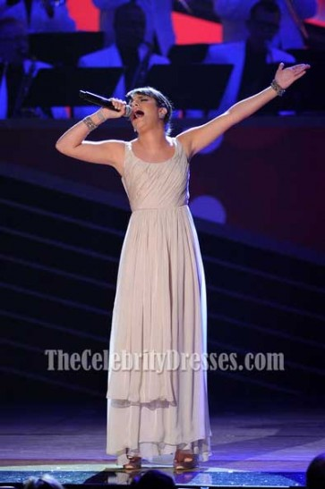 Celebrity Dresses Lea Michele Chiffon Prom Dress 64th Tony Awards Gown