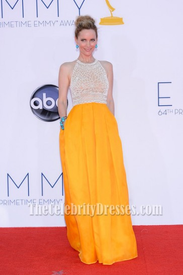 Leslie Mann Yellow Formal Dress 2012 Emmy Awards Red Carpet Celebrity Dresses
