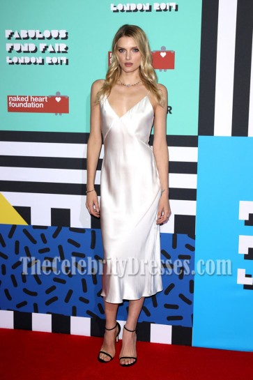 Lily Donaldson Naked Heart Foundation's Fabulous Fund Fair Ivory Spaghetti Strap Backless Cocktail Dress