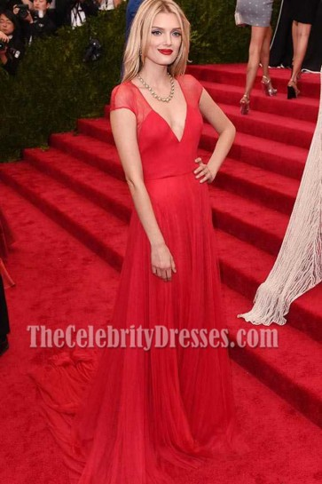 Lily Donaldson Met Gala 2015 Red Deep V-neckline Chiffon Evening Formal Dress  5