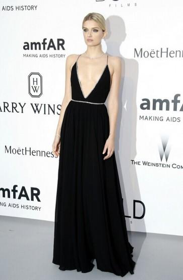Lily Donaldson Sexy Black Evening Dress amfAR's 22nd Cinema Against AIDS Gala TCD6090