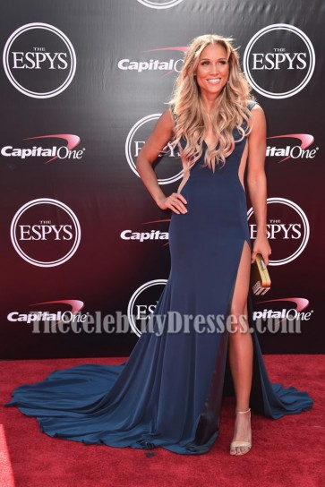 Lolo Jones High Slit Long Evening Dress 2016 ESPYS Red Carpet Prom Gown  1