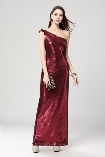 Long Burgundy One Shoulder Evening Gown Prom Dress TCDBF2012