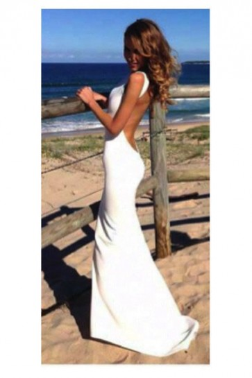 Long White Backless Prom Gown Evening Dresses