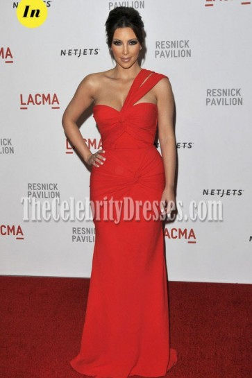 "Kim Kardashian Red One Shoulder Prom Gown LACMA ""Unmasking"""