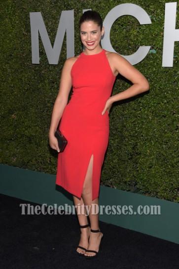 Lorenza Izzo Watermelon Cocktail Party Dress Michael Kors Launch