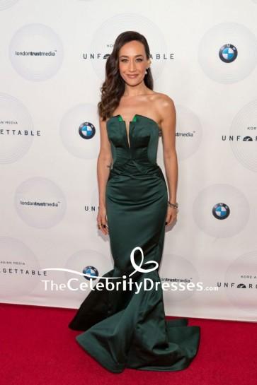 Maggie Q Dark Green Strapless Satin Sheath Dress Unforgettable Gala Red Carpet