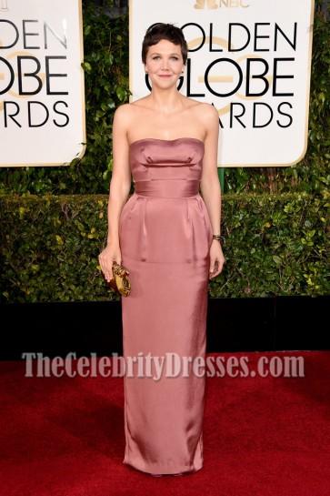 Maggie Gyllenhaal Strapless Prom Evening Dress Golden Globes Red Carpet 2015 2