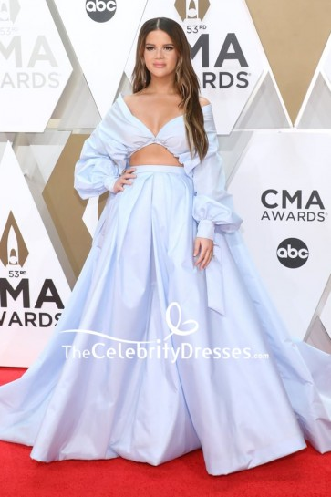 Maren Morris Light Blue Two Pieces Formal Dress 2019 CMA Awards