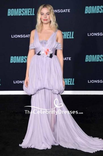 Margot Robbie Lilac Ruffled Evening Dress Screening Of 'Bombshell'