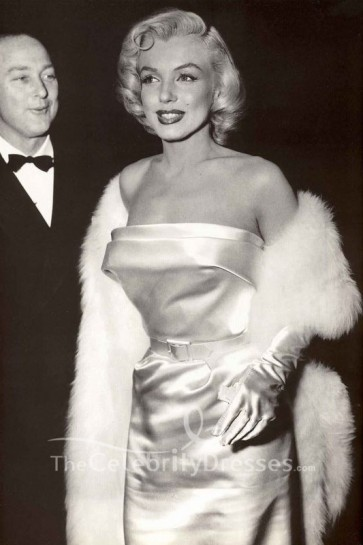 Marilyn Monroe White Strapless Prom Dress the premiere of Call Me Madam