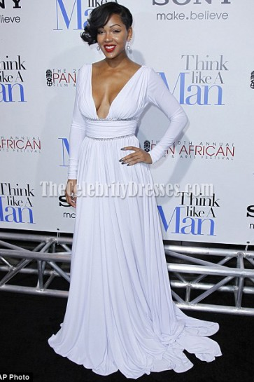 Meagan Good Sexy White Prom Dress Think Like A Man Premiere