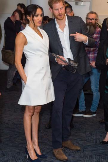 Meghan Markle White Sleeveless Tuxedo Dress Visiting Courtenay Creative