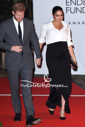 Meghan Markle Black Long Skirt Endeavour Fund awards Red Carpet