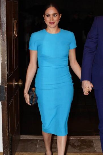 Meghan Markle Light Blue Fitted Midi Dress 2020 Endeavour Fund Award