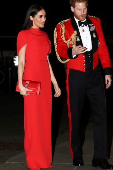 Meghan Markle Red Column Capped Evening Dress Mountbatten Music Festival