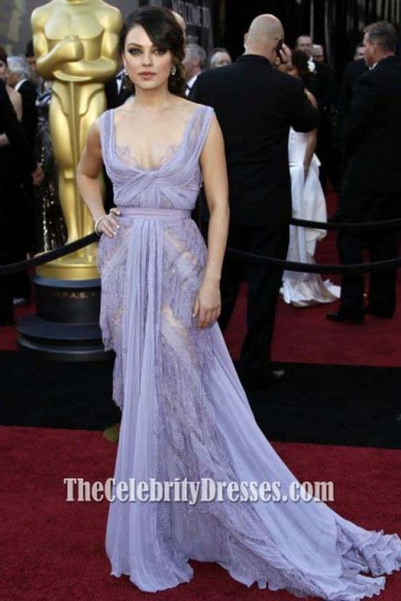 MILA KUNIS 2011 Oscar Lavender Prom Dress Red Carpet Celebrity Gown