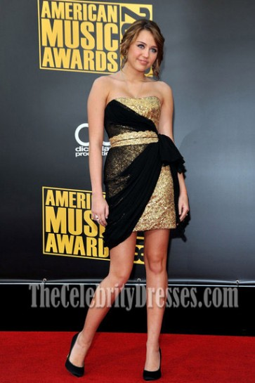 Miley Cyrus Strapless Party Dress American Music Awards Red Carpet Dresses