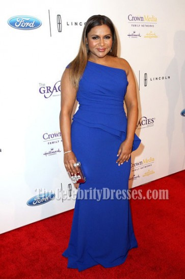 Mindy Kaling Blue One Shoulder Evening Prom Dress 41st Annual Gracie Awards Gala 1