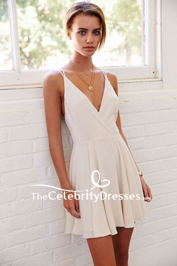 Mini Simple Ivory Party Homecoming Dresses