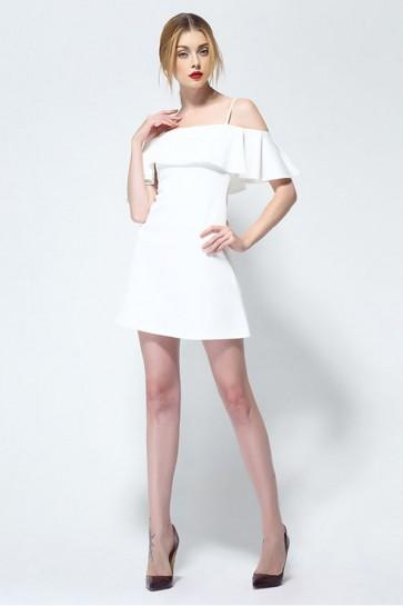Short Mini White Spaghetti Straps Party Dress TCDMU0006