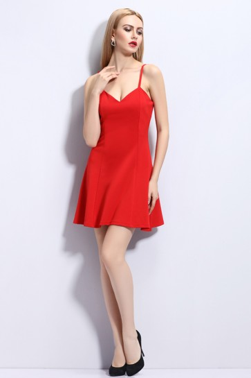 Red Mini Sexy Spaghetti Straps Party Dress TCDMU0046