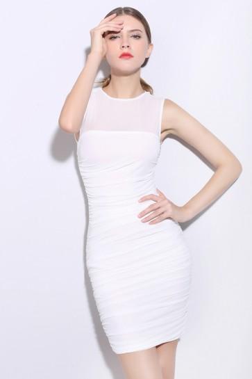 Short White Sleeveless Party Cocktail Dresses TCDMU0048
