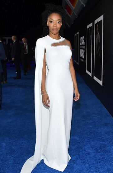 Naomi Ackie White Cut Out Capped Evening Dress