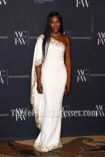 Naomi Campbell 2017 Monte Carlo Fashion Week  Luxury White Beaded One-shoulder Evening Prom Gown